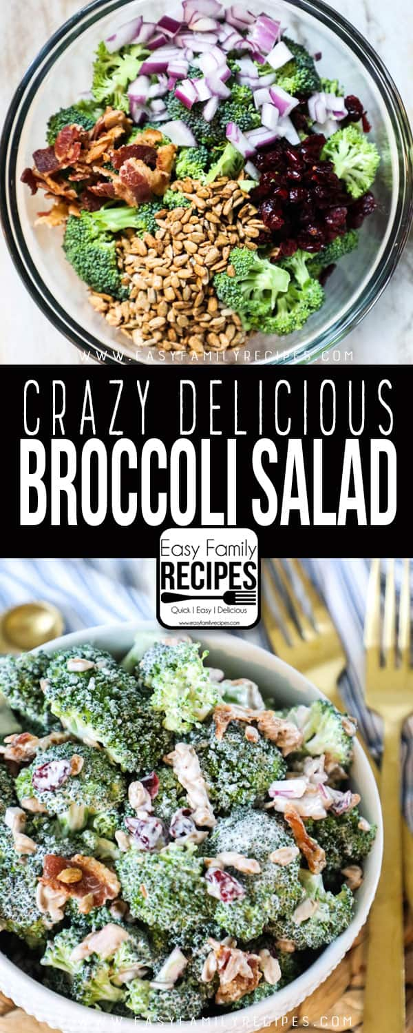 Broccoli Salad with Bacon Ingredients - Broccoli, bacon, sunflower seeds, onion, dressing