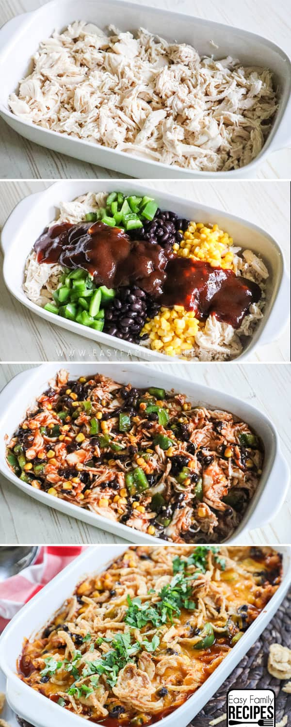 How to Make Shredded BBQ Chicken Casserole: Step one combine shredded chicken with bbq sauce and toppings. Step 2: Mix and layer in casserole dish. Step 3: Top with cheese and french fried onions.