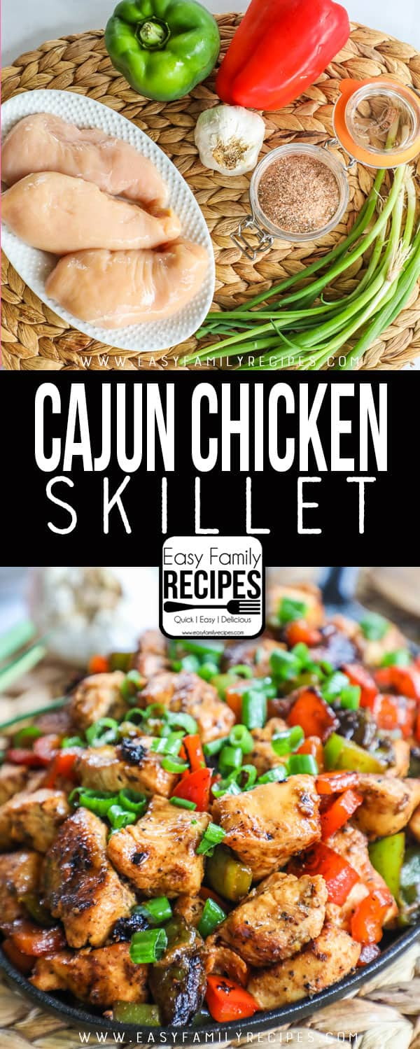 Cajun Chicken Ingredients: chicken breast, bell pepper, green onions, cajun seasoning. Cajun Chicken finished in a skillet