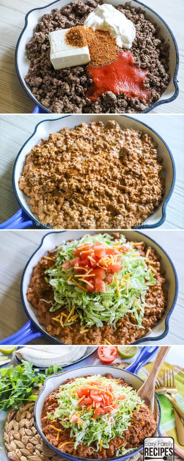 How to Make Taco Skillet: Step 1: Brown meat. Step 2: Add cheese, sour cream, tomato sauce and seasonings. Step 3: Top with lettuce, tomatoes, and cheese.