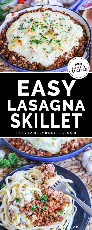 Skillet Lasagna Served on Pasta