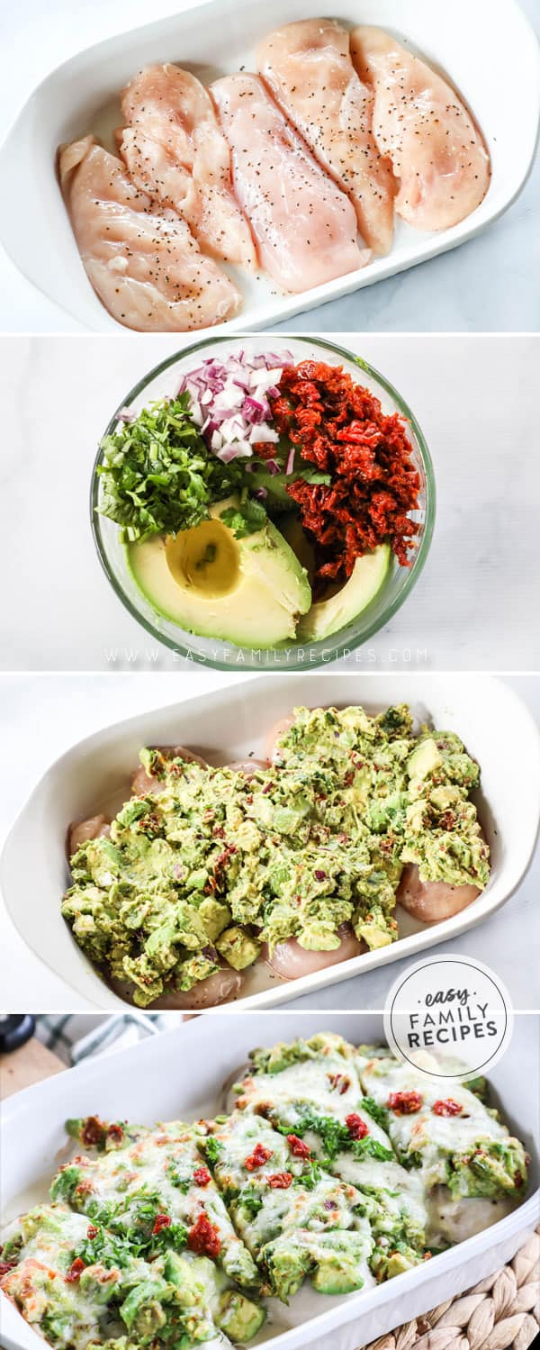 Photo Collage of How to Make Avocado Smothered Chicken