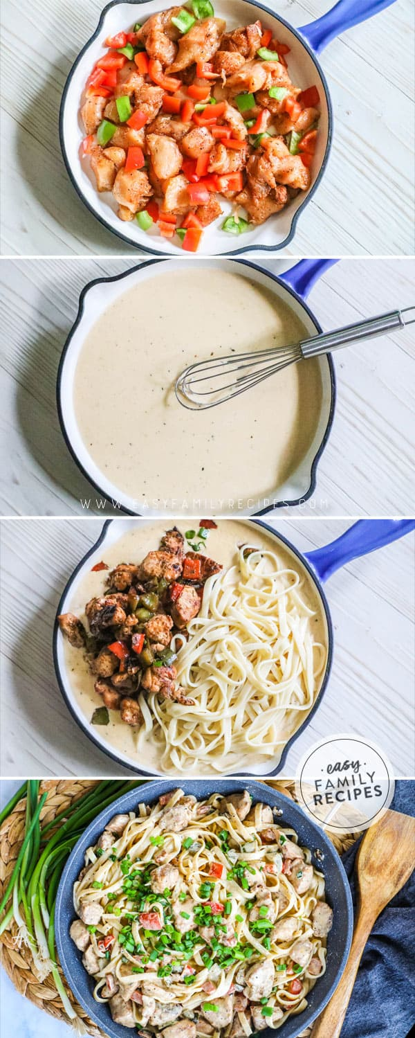 Step by Step Process shots for making easy cajun chicken pasta