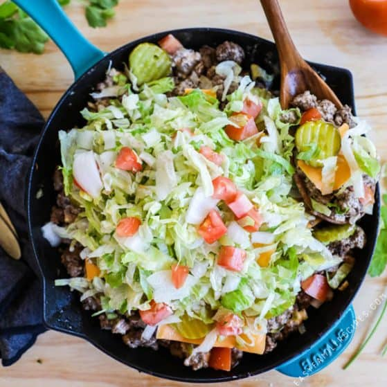 Big Mac Skillet, like a big mac without the bun! Covered in lettuce, tomato, special sauce and cheese!