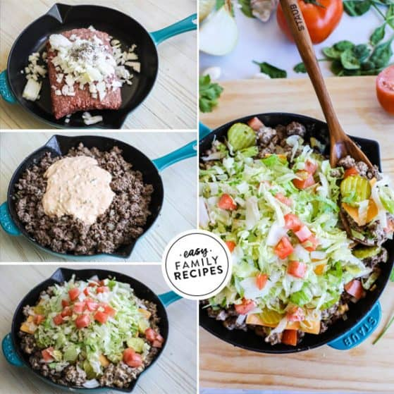 Big Mac made in one skillet without buns so it is gluten free and low carb