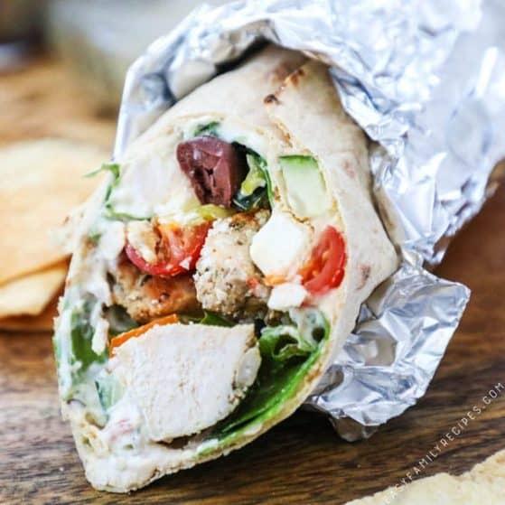 Recipe for greek chicken wraps
