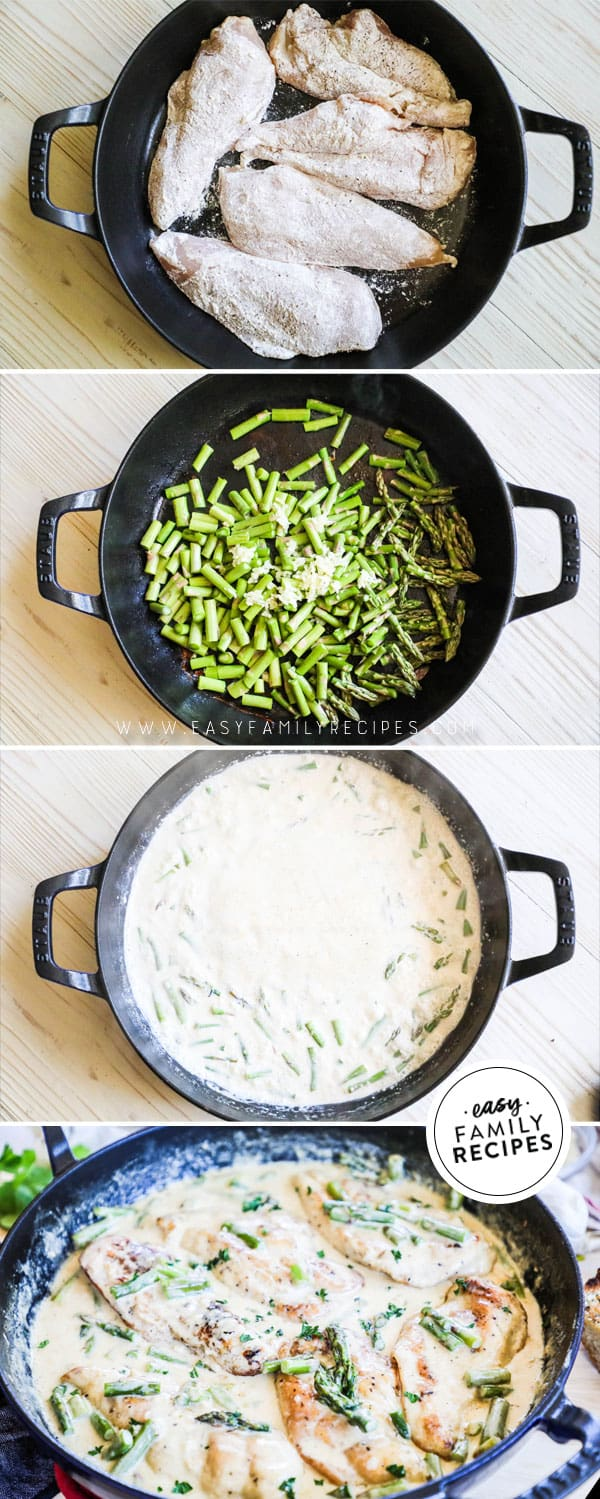 Steps to make chicken and asparagus with cream sauce in a cast iron skillet