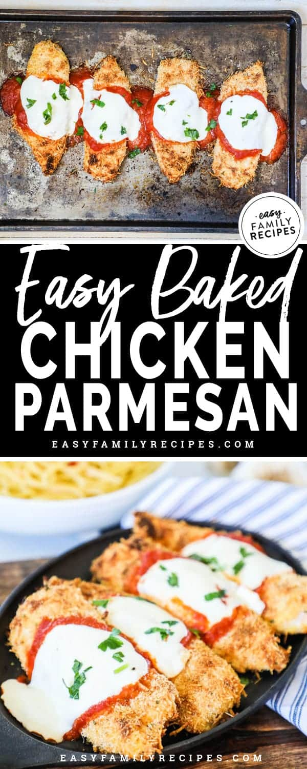 Easy Baked Chicken Parmesan is full of flavor and crispiness with every bite.