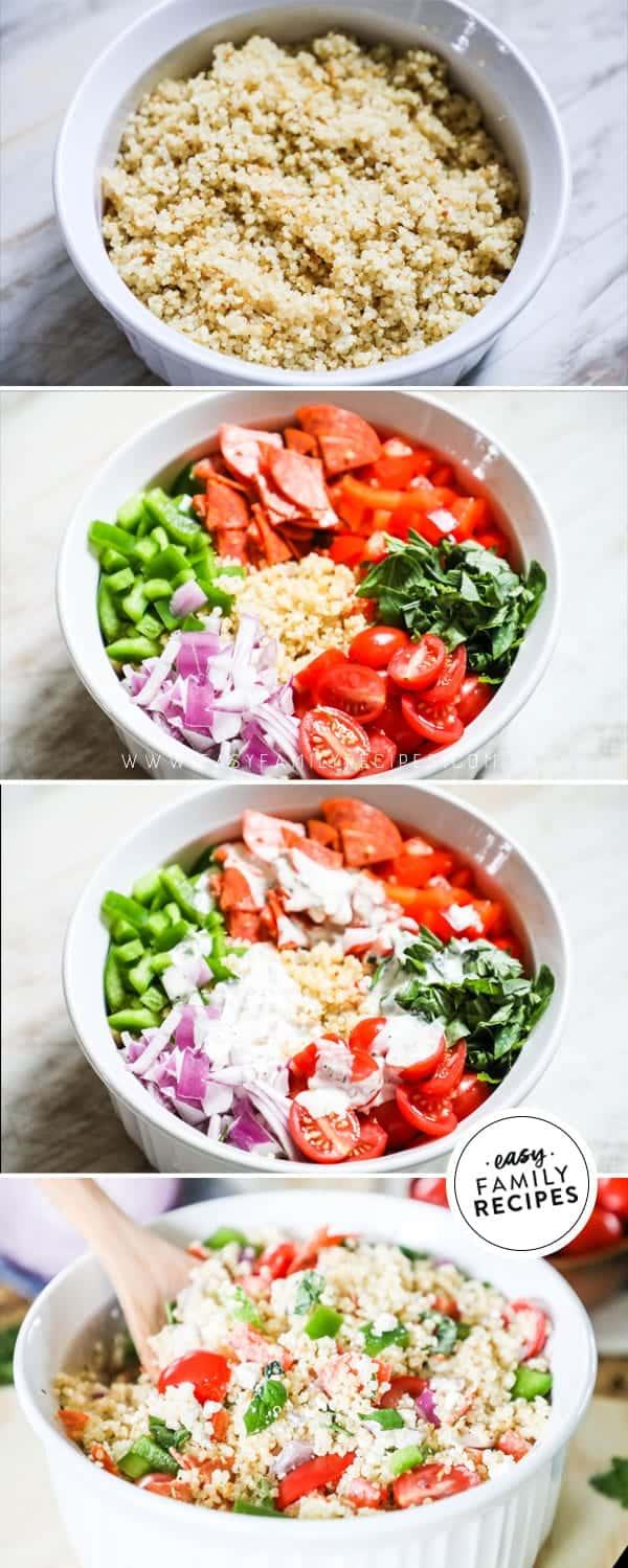 Steps to making Italian Quinoa Salad.