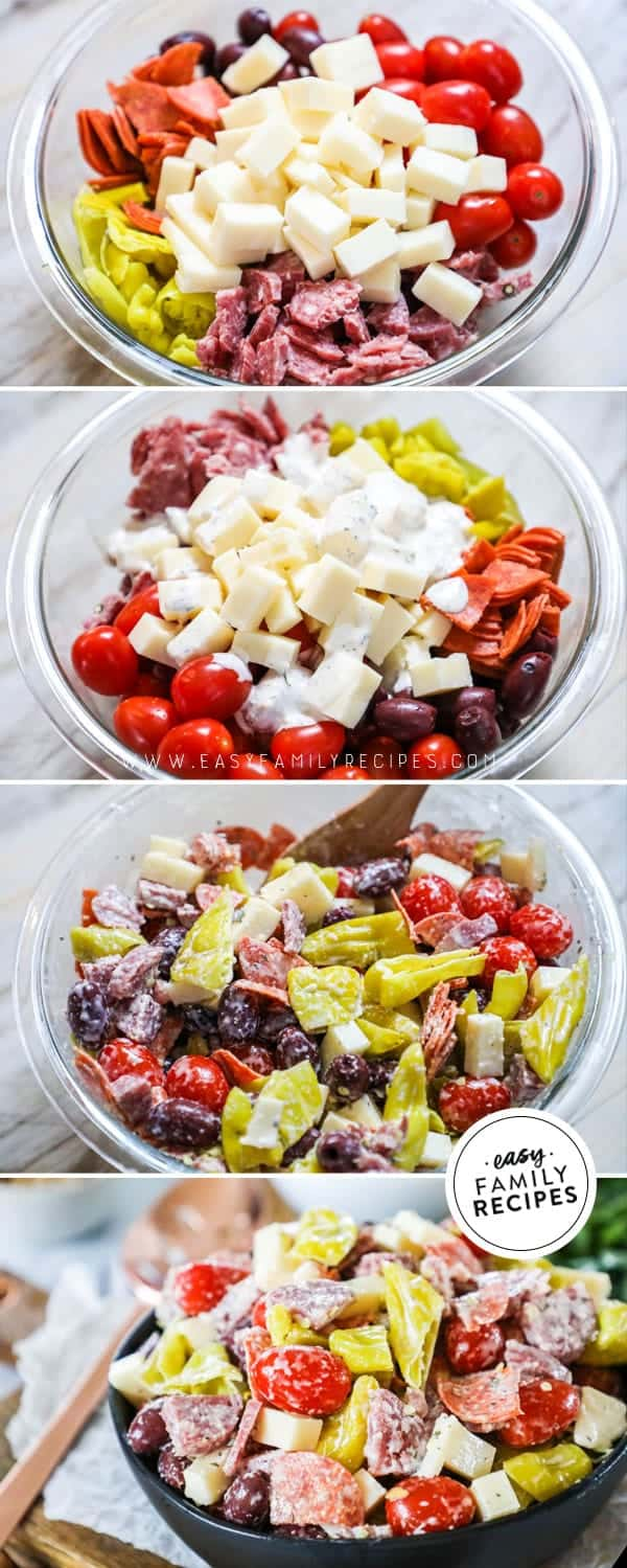 Steps to making antipasto salad