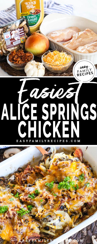Alice Springs Chicken Ingredients - Chicken breast, onion, mushrooms, honey mustard, cheese