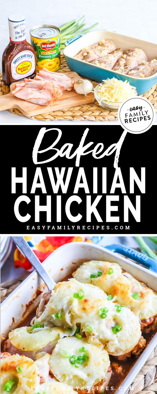 Hawaiian Baked Chicken Ingredients - Chicken breast, pineapple, bbq sauce, cheese