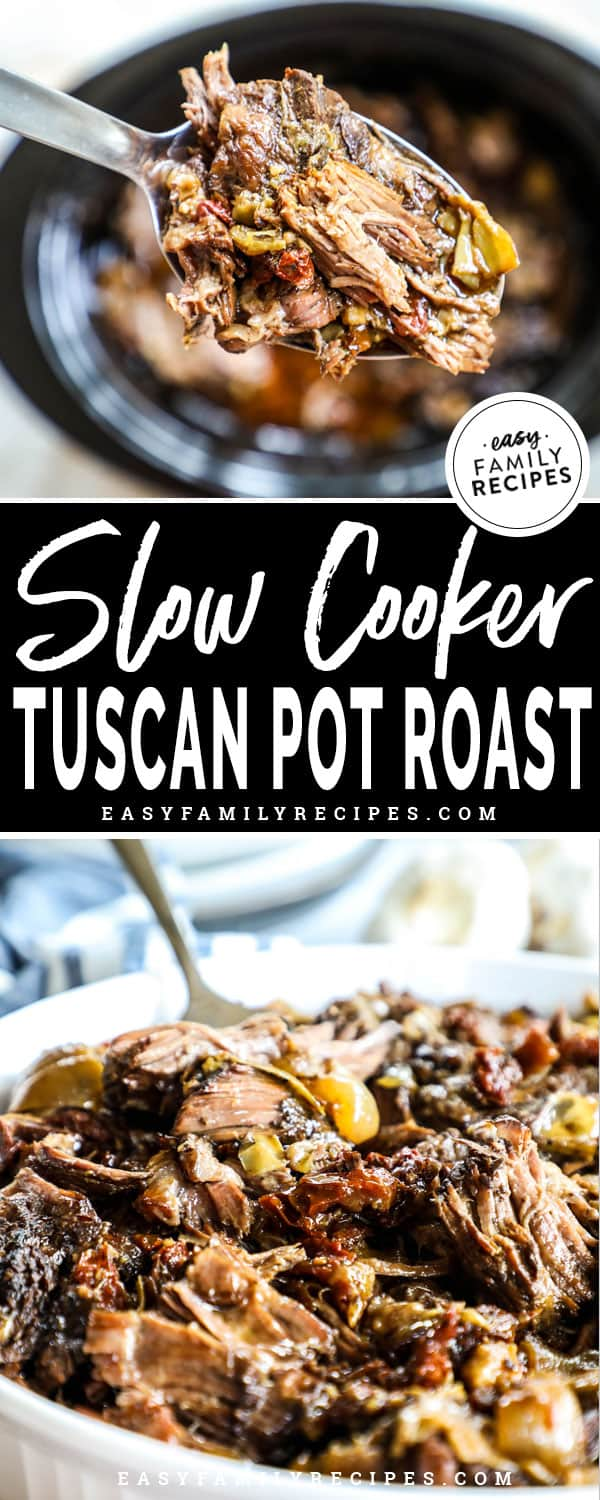 Tuscan Pot Roast being spooned out of the slow cooker
