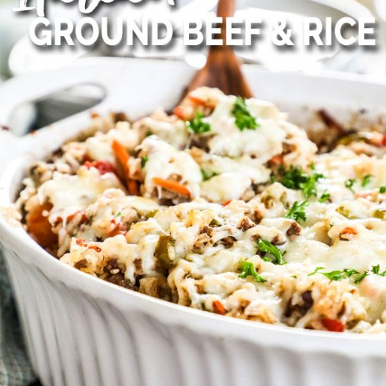 Italian Ground Beef and Rice Casserole garnished with parsley