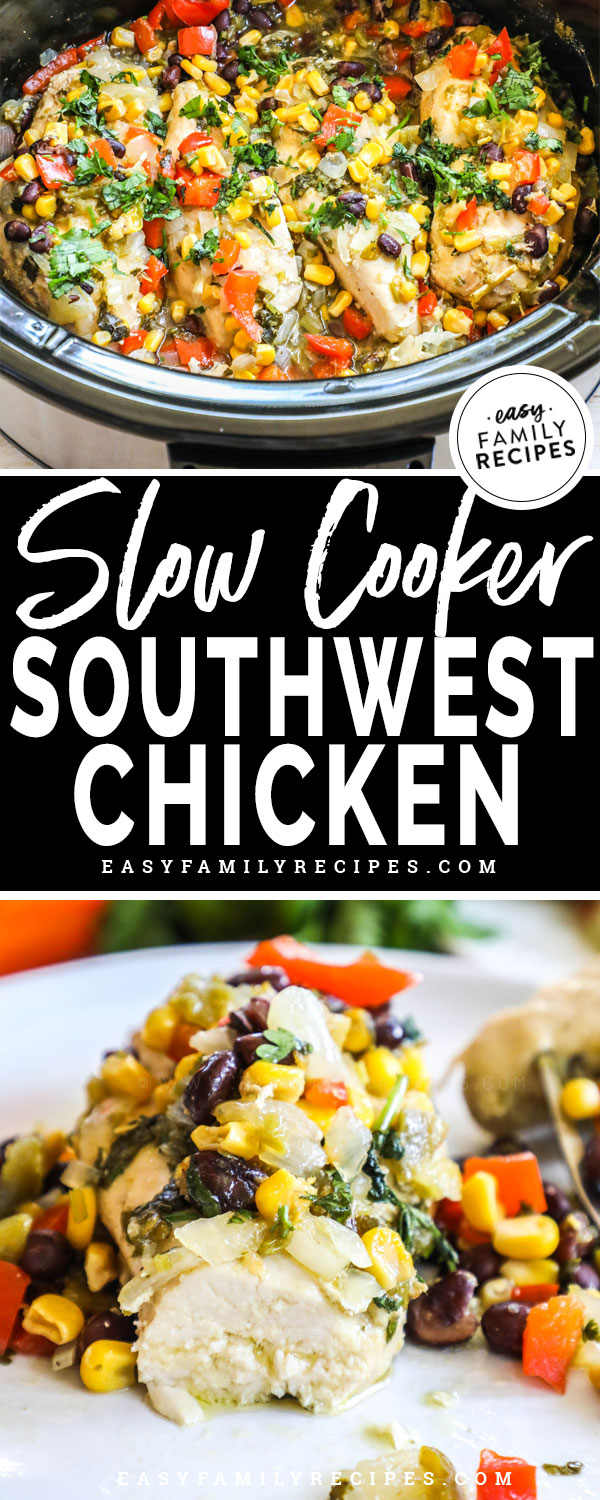 Southwesst chicken breast made in a crockpot and served on a plate