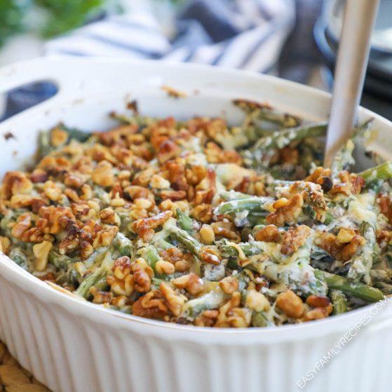 Garlic Parmesan Green bean Casserole in a casserole dish