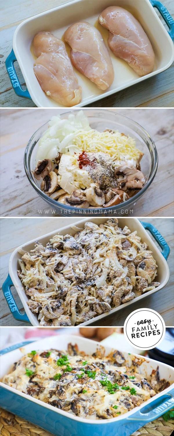 Process photos for how to make mushroom chicken