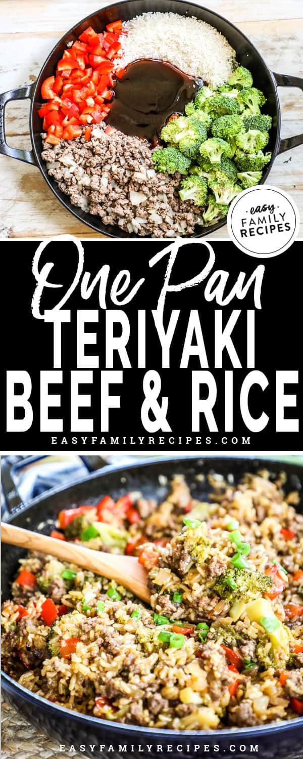 Teriyaki Beef and Rice Casserole made in a skillet