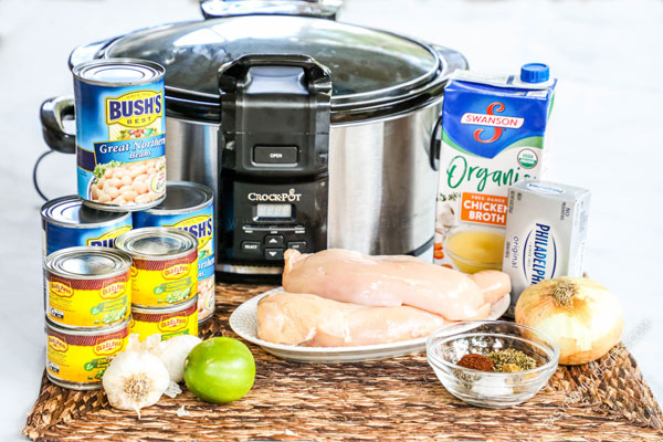 Cream Cheese Chicken Chili Ingredients- Chicken breast, green chiles, great northern beans, lime, chicken broth