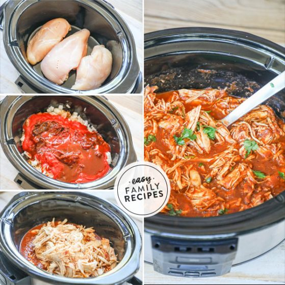 Steps for making chipotle chicken in the slow cooker