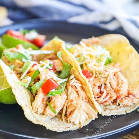 Tacos made with chicken from the crock pot