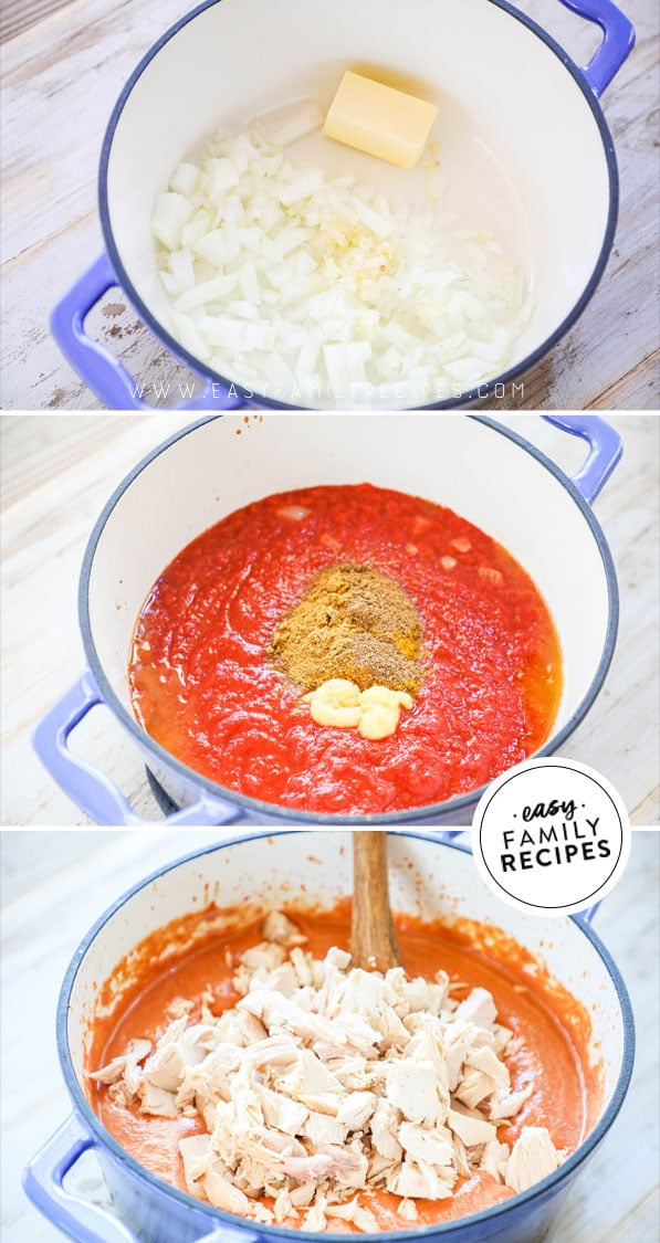 Process photos for how to make Indian Butter Chicken