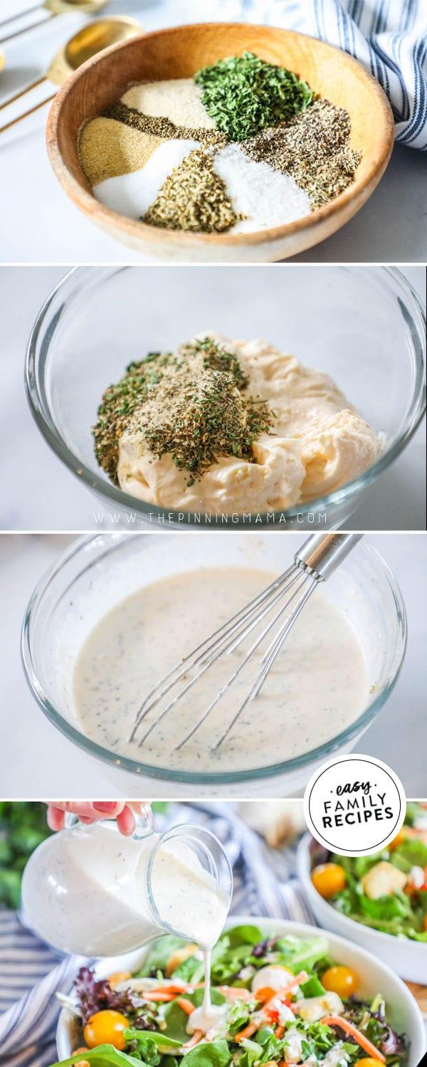 Process photos for making homemade creamy Italian Dressing