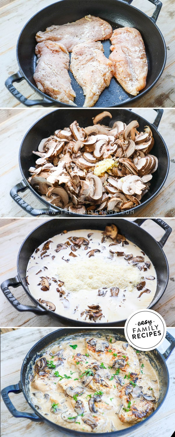 Process photos for how to make Chicken with Mushroom Cream Sauce in a skillet
