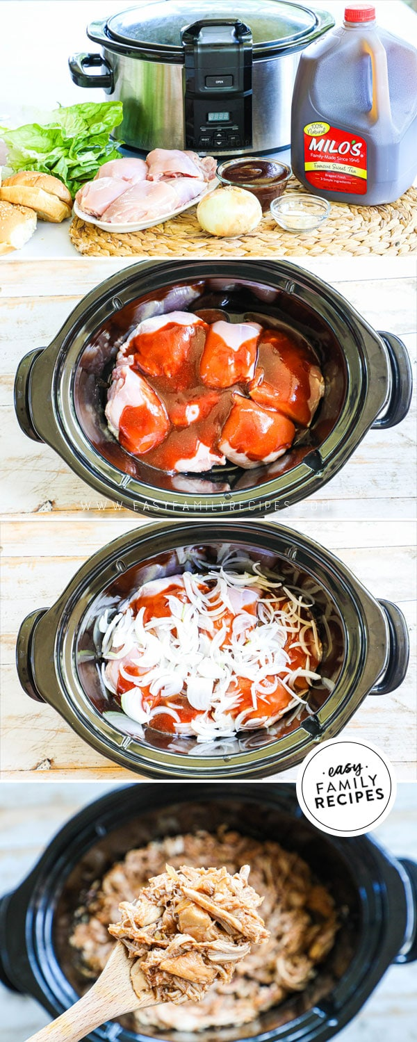 Process photos for how to make pulled chicken in the crockpot