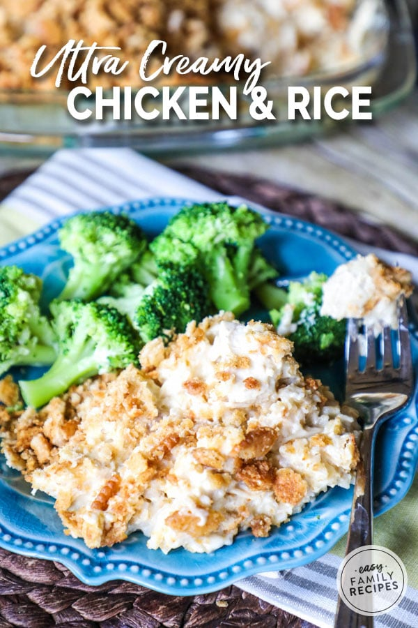 Creamy chicken and rice casserole served with broccoli on a plate