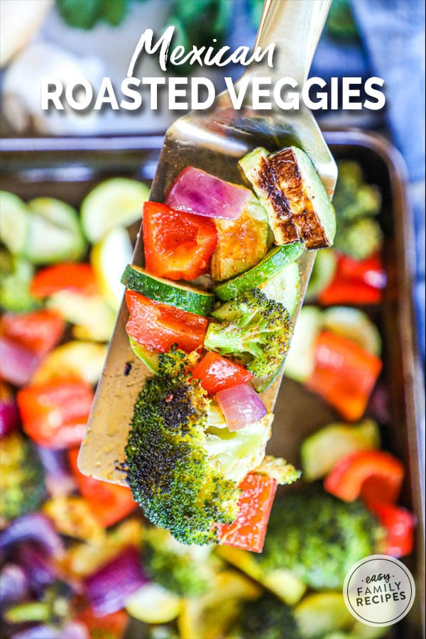 Assorted Mexican Roasted Veggies on a spatula