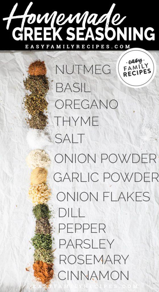 Ingredients for greek seasoning