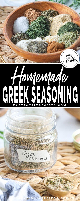 Homemade Greek Seasoning Blend in a mason jar