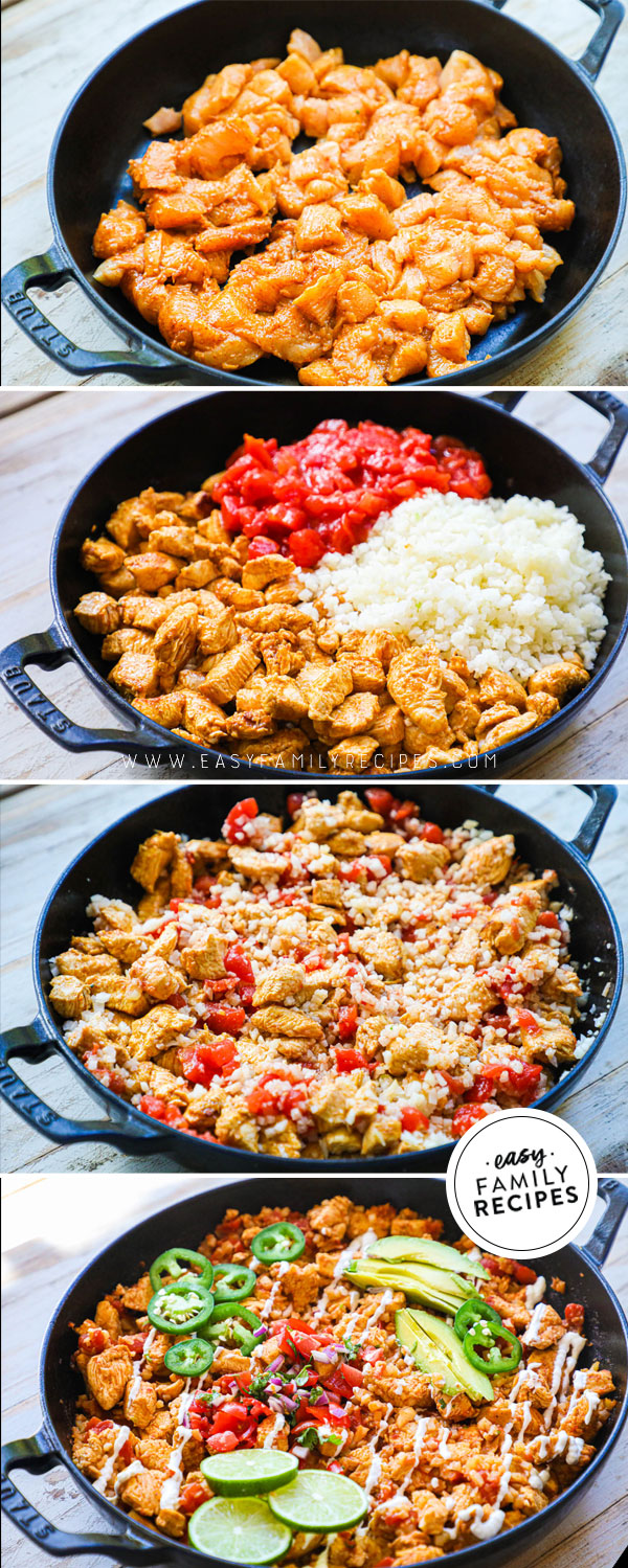 Process photos for How to make healthy chicken burrito bowls with cauliflower rice