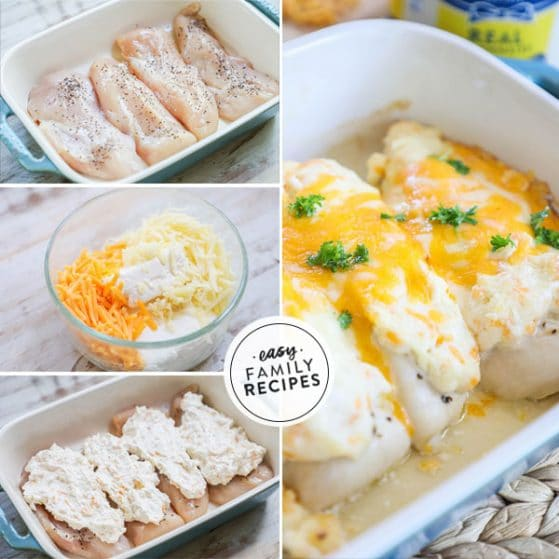 step by step for making baked chicken with cheese