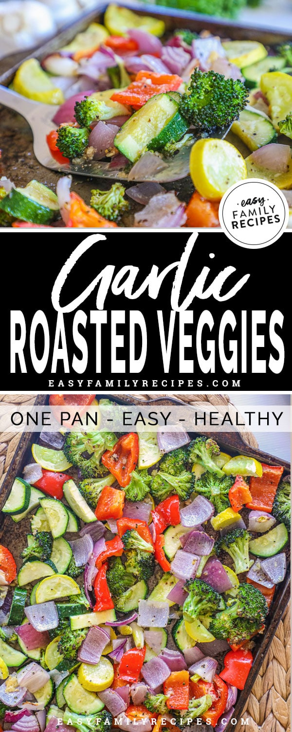Baked garlic veggies on a cookie sheet fresh out of the oven