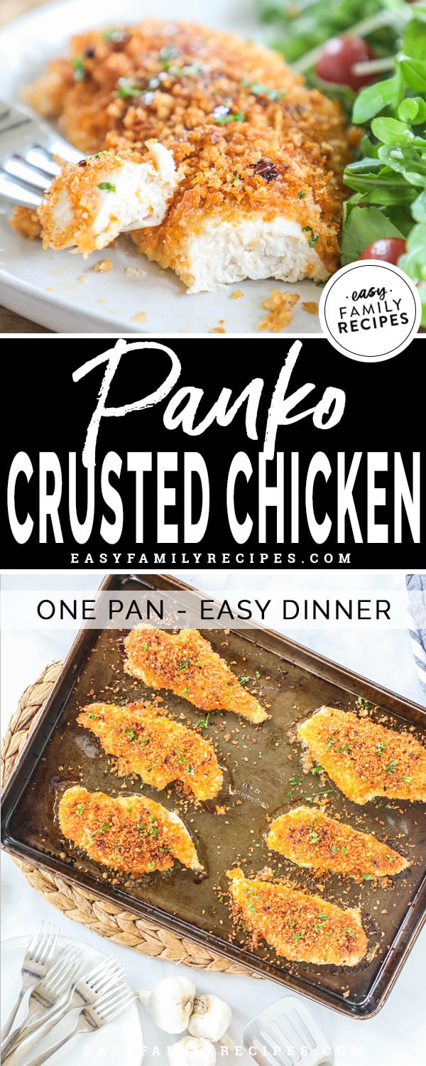 Panko Chicken breast with honey glaze cut into with a fork
