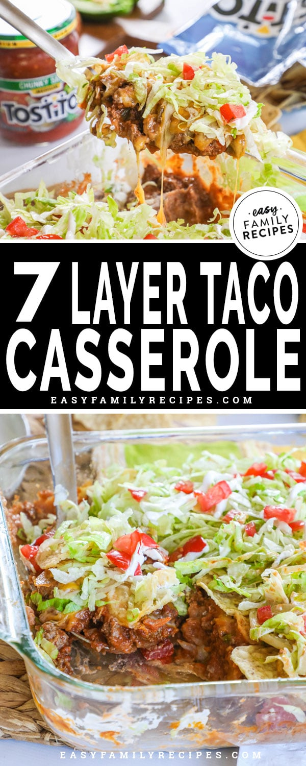 7 Layer Taco Casserole being scooped out of the casserole dish