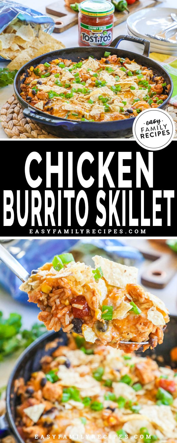 Chicken Burrito bowl made in a large skillet