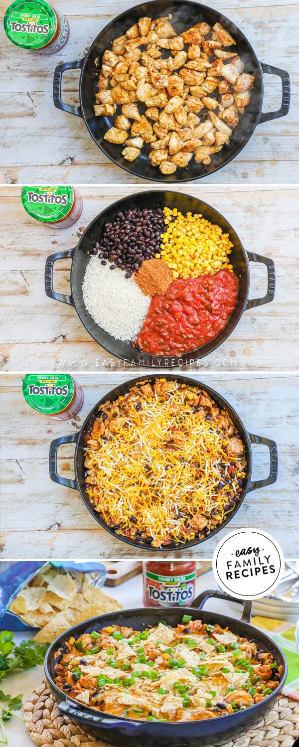 Process photos for how to make chicken burrito skillet