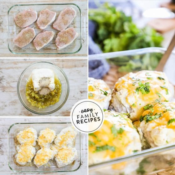step by step for making baked pork chops smothered with green chile cheese sauce