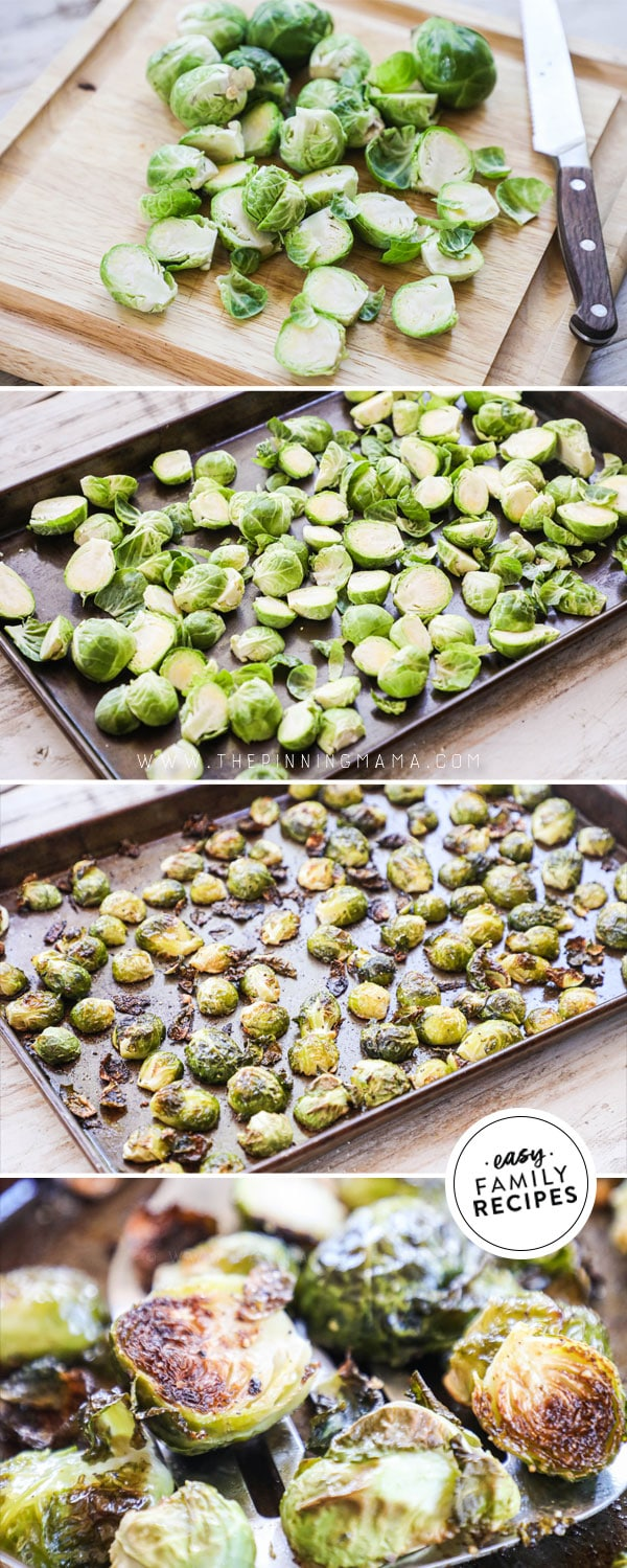 Process photos for how to make roasted brussels sprouts in the oven