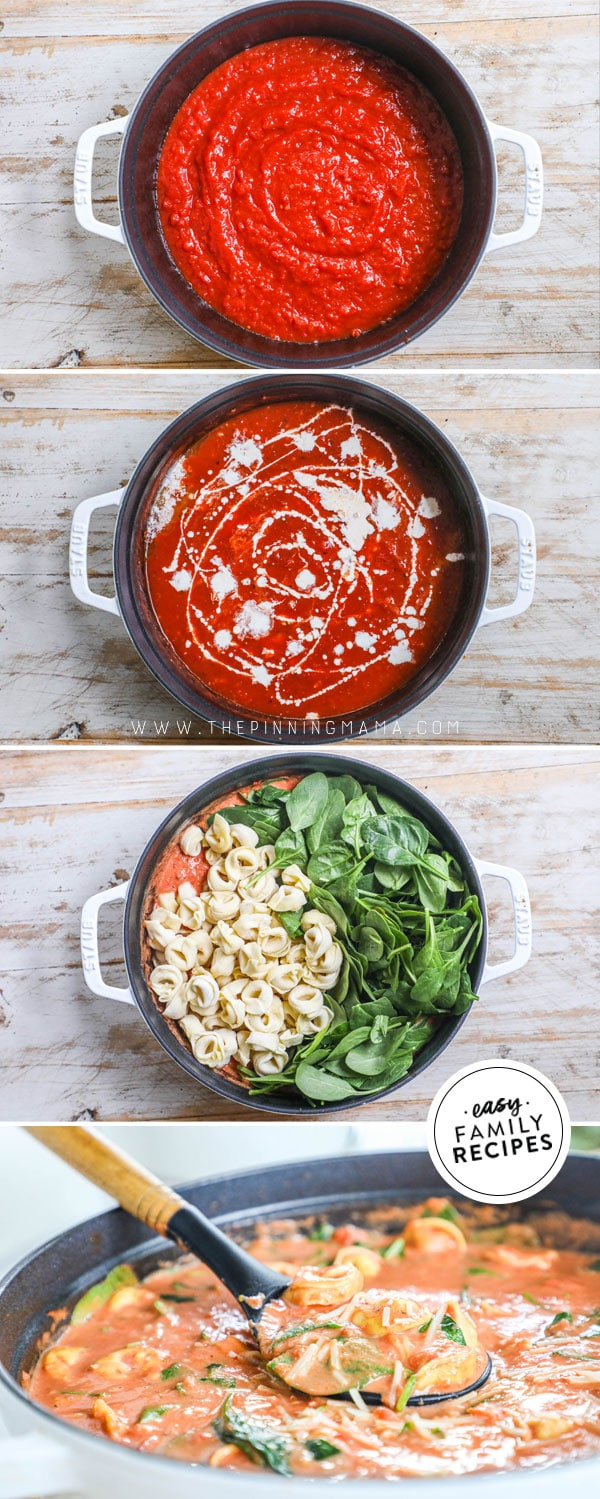 Process photos for how to make Tuscan Tomato Tortellini Soup