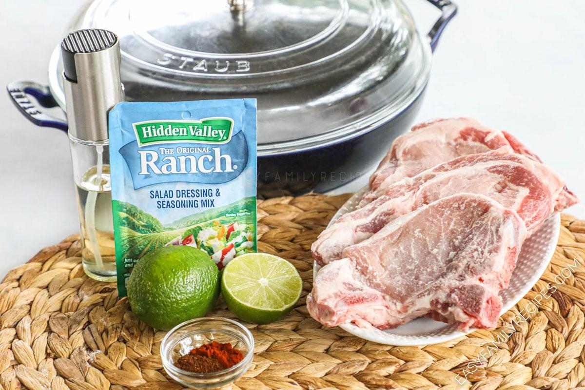 Ingredients to make Southwest pork chops in cast iron skillet