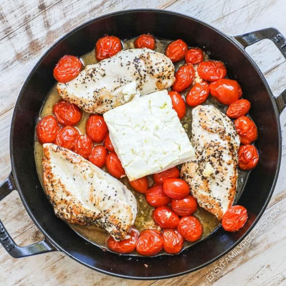 Baked Feta Chicken in pan ready to go into oven