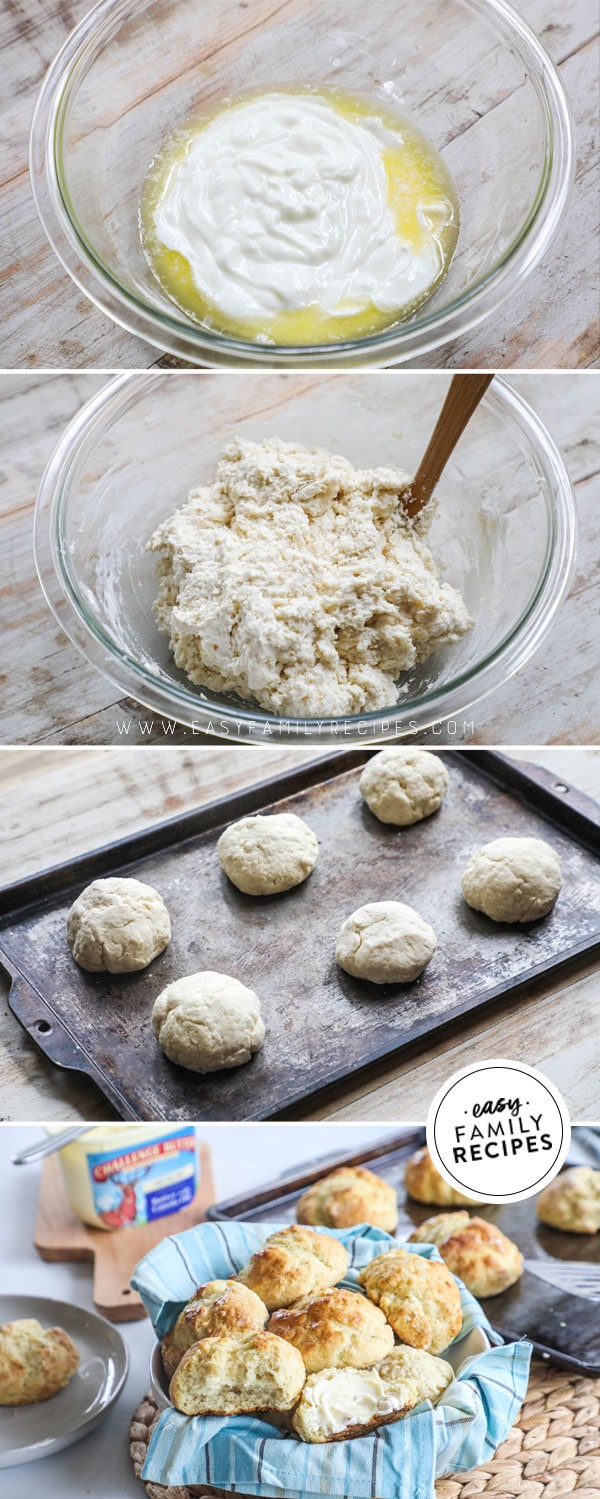 Process photos for how to make dinner rolls without yeast. 1. combine butter and yogurt in a bowl. 2 Mix in dry ingredients to form dough. 3. Shape into balls on a baking sheet