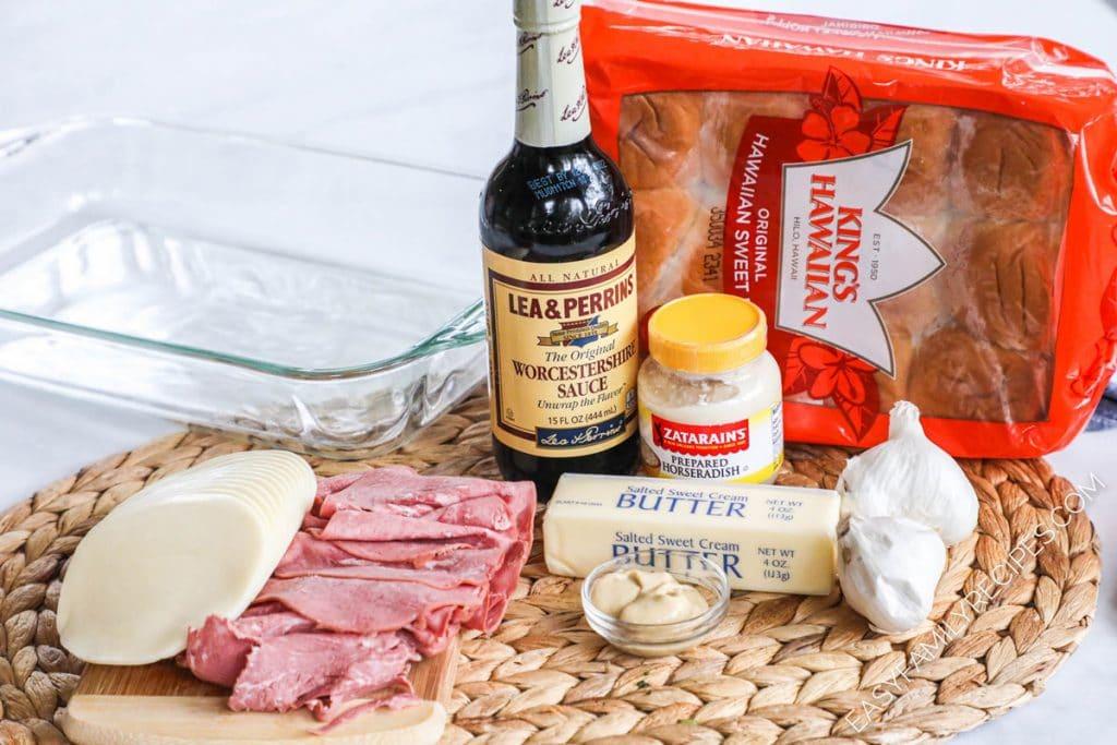 Ingredients for Baked Roast Beef Sliders - Hawaiian rolls, roast beef deli meat, provolone cheese, butter