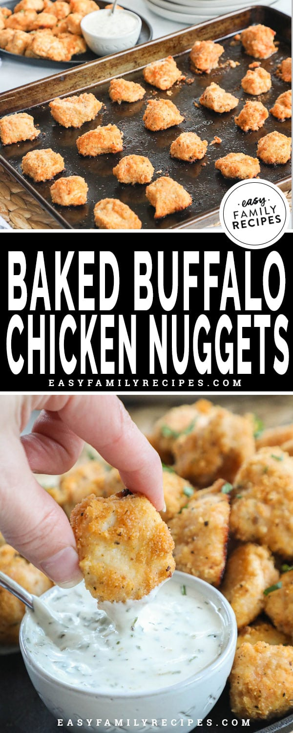 Buffalo Chicken Nuggets hot from the oven on a baking sheet and being dipped in ranch dressing