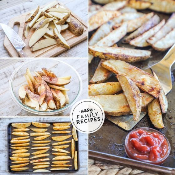 Step by Step for making baked potato wedges recipe 1. Cut potatoes into wedges 2. season and toss with oil 3. Arrange potato wedges on baking sheet. 4. Bake until crispy and golden