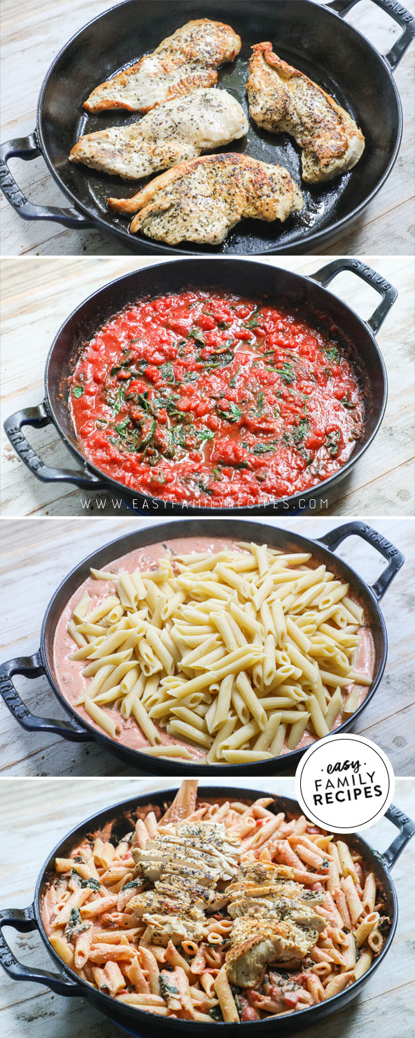 Process photos for Italian Chicken pasta- 1. Brown Chicken on both sides. 2. Make tomato cream sauce 3. Add Pasta 4. Toss everything together